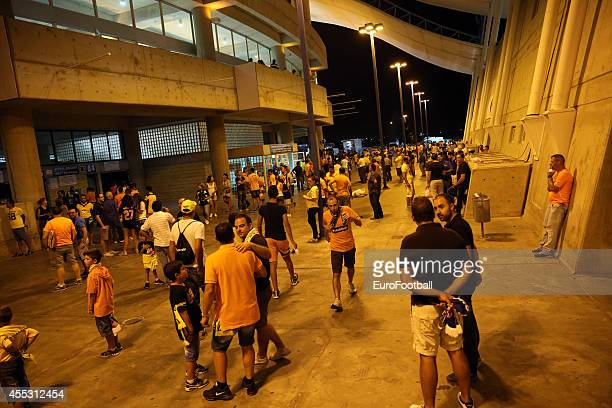 Fans outside of the GSP stadium before the UEFA Champions League play-offs second leg match between APOEL and Aalborg at the GSP Stadium on August...