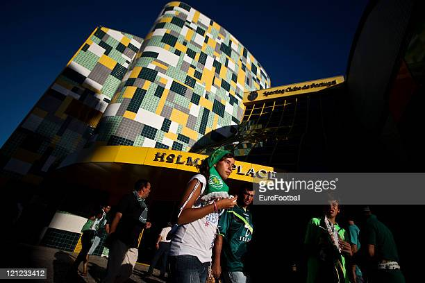 Fans outside the Alvalade Stadium home of Sporting Clube de Portugal before the Portuguese Primeira Liga ZON Sagres match between Sporting Lisbon and...