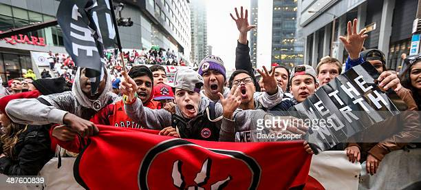 TORONTO ON APRIL 30 Fans outside the arena cheer for the Raptors as the watch the big screen during game 5 of the first round between the Toronto...