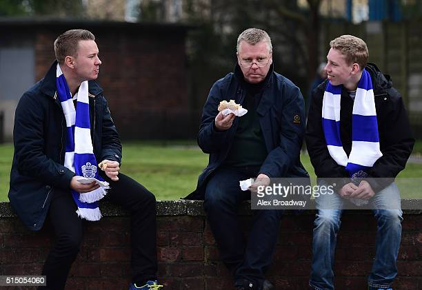 Fans outside the ground prior to the Sky Bet Championship match between Queens Park Rangers and Brentford at Loftus Road on March 12 2016 in London...