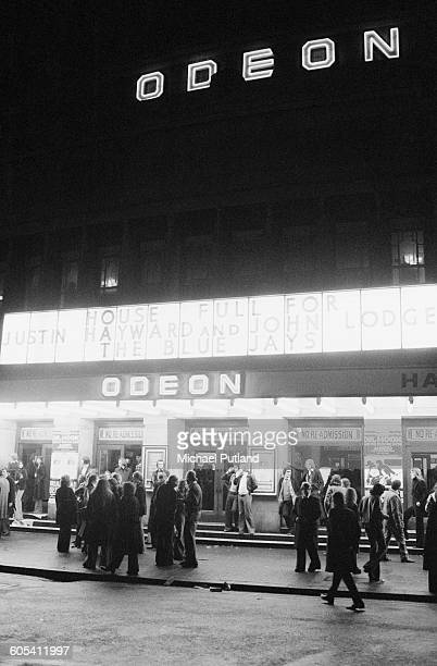 Fans outside the Hammersmith Odeon at a concert by John Lodge and Justin Hayward of the Moody Blues who are performing music from their 'Blue Jays'...