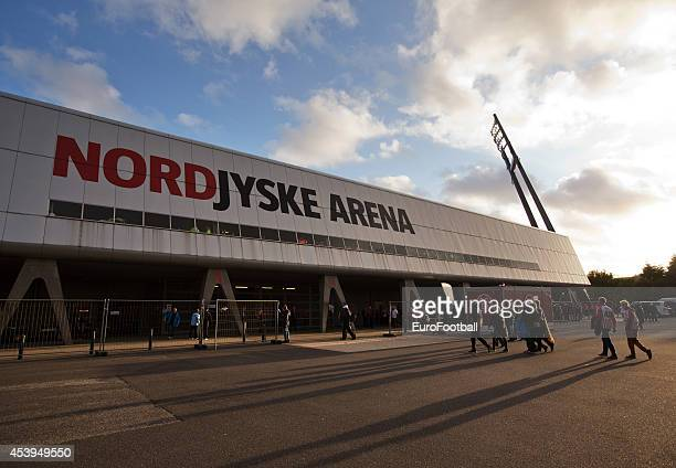 Fans outside the Nordjyske Arena before the UEFA Champions League Play off football match between Aalborg BK and Apoel FC at the Nordjyske Arena on...