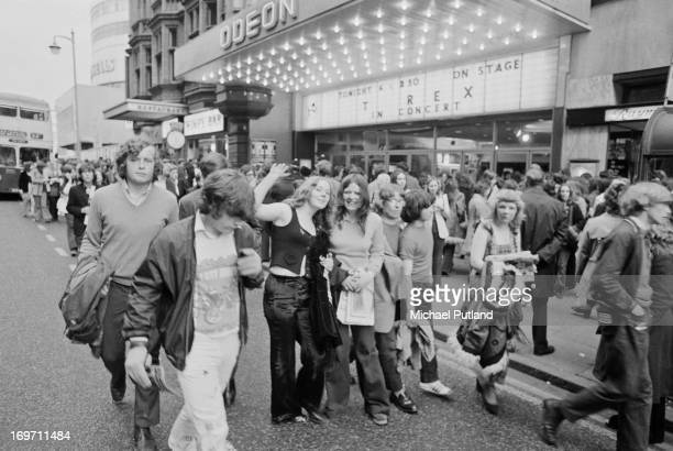 Fans outside the Odeon Birmingham before a concert by English glam rock group TRex 9th June 1972