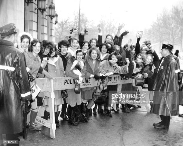 Fans outside the Plaza Hotel await a chance to see The Beatles and say so-long.