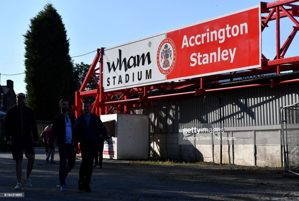Fans outside the Wham Stadium before the game