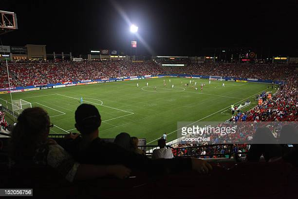 Fans pack FC Dallas Stadium to watch a match between FC Dallas and the Vancouver Whitecaps FC on September 15 2012 at FC Dallas Stadium in Frisco...
