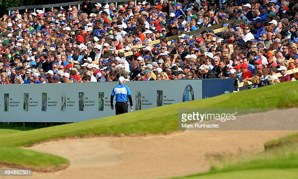 Fans pack grandstands around the 18th green during the Nordea Masters at the PGA Sweden National on May 31 2014 in Malmo Sweden
