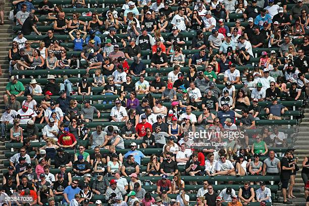 Fans pack the center field bleachers on a warm day to see the Chicago White Sox take on the Texas Rangers at US Cellular Field on April 24 2016 in...