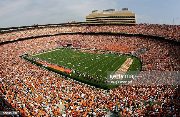 Fans pack the stands to support their teams as the Mississippi Rebels face the Tennessee Volunteers on October 1, 2005 at Neyland Stadium in...
