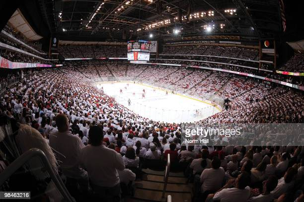 Fans participate in a WhiteOut as the Phoenix Coyotes take on the Detroit Red Wings in Game One of the Western Conference Quarterfinals during the...