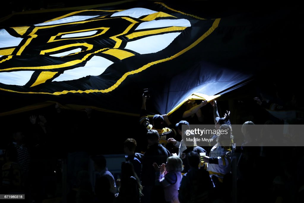 Fans pass a Bruins banner around the ice before Game Six of the Eastern Conference First Round between the Boston Bruins and the Ottawa Senators during the 2017 NHL Stanley Cup Playoffs at TD Garden on April 23, 2017 in Boston, Massachusetts.