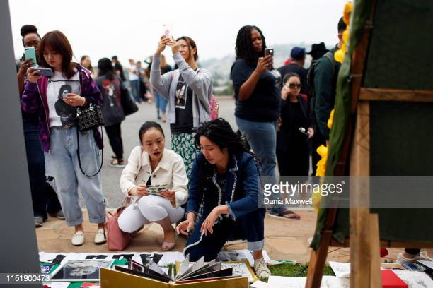 Fans pay their respects at the Holly Terrace Grand Mausoleum where Michael Jackson is buried on the tenth anniversary of his death at Forest Lawn...