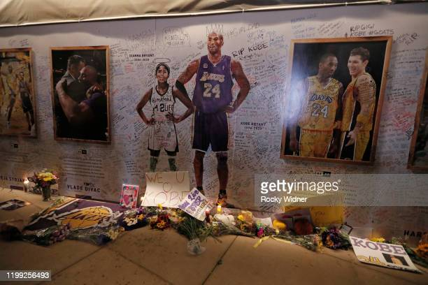 Fans pay tribute to the late Kobe Bryant and Gianna Bryant prior to the game between the Los Angeles Lakers and Sacramento Kings on February 1 2020...