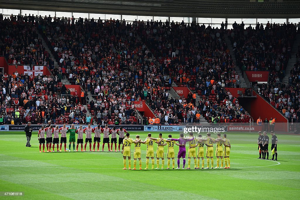 Fans, players and officials mark the upcoming anniversary of the Bradford City fire disaster with a minutes silence prior to the Barclays Premier League match between Southampton and Tottenham Hotspur at St Mary's Stadium on April 25, 2015 in Southampton, England.