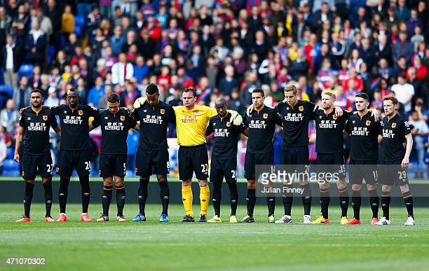 Fans players and officials mark the upcoming anniversary of the Bradford City fire disaster with a minutes silence prior to the Barclays Premier...