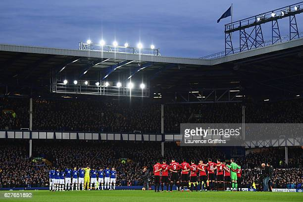 Fans, players and officials observe a minutes silence for the victims of the plane crash involving the Brazilian club Chapecoense prior to the...