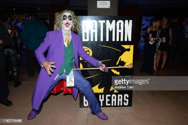 """Fans pose at """"The Gathering"""" ahead of the induction ceremony during The Batman Experience powered by AT&T and Comic-Con Museum character Hall Of Fame..."""