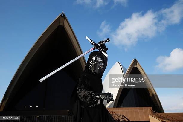 Fans pose at the Star Wars: The Force Awakens fan event at Sydney Opera House on December 10, 2015 in Sydney, Australia.