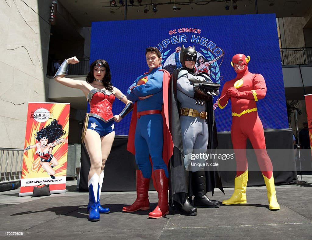 Warner Bros. And DC Comics Super Hero World Record Event : News Photo
