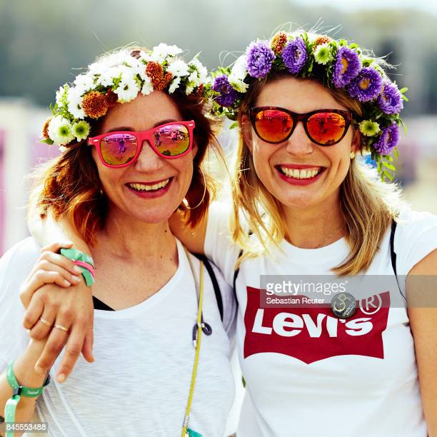 Fans pose during the Lollapalooza Berlin music festival on September 9, 2017 in Dahlwitz-Hoppegarten, Germany.