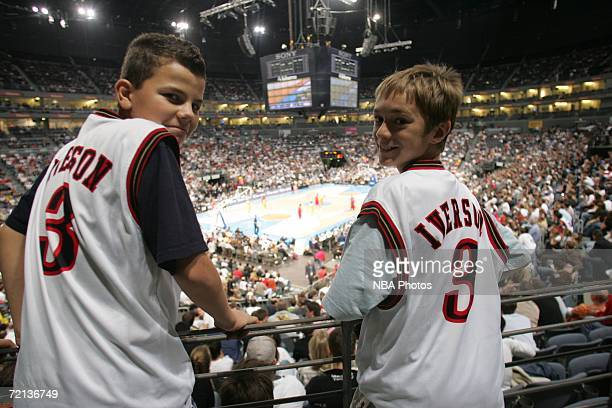 Fans pose during the NBA Europe Live Tour 2006 on October 10 2006 at Koln Arena in Cologne Germany NOTE TO USER User expressly acknowledges and...