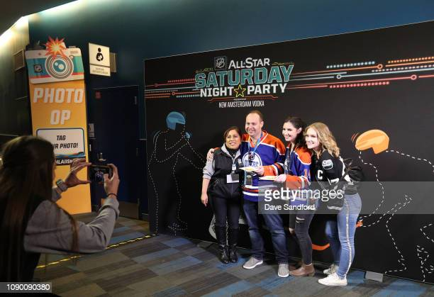 Fans pose for a photo at the 2019 NHL AllStar Saturday Night Party at the San Jose Convention Center on January 26 2019 in San Jose California