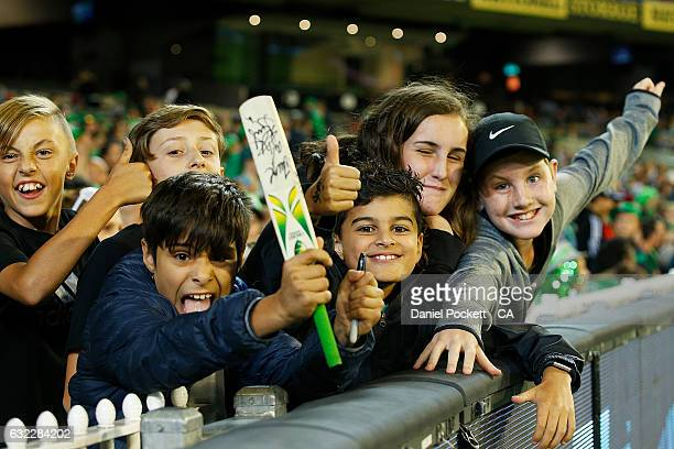 Fans pose for a photo during the Big Bash League match between the Melbourne Sixers and the Adelaide Sixers at Melbourne Cricket Ground on January 21...