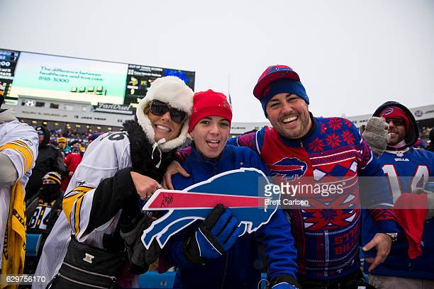 Fans pose for a photo during the second quarter of the game between the Buffalo Bills and the Pittsburgh Steelers on December 11 2016 at New Era...