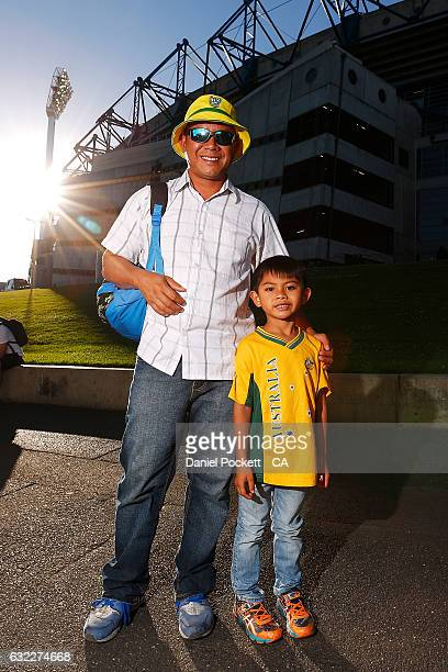 Fans pose for a photo prior to the Big Bash League match between the Melbourne Stars and the Adelaide Strikers at Melbourne Cricket Ground on January...