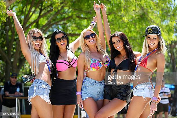 Fans pose for a photograph during practice for the Gold Coast 600 which is round 12 of the V8 Supercars Championship Series at the Surfers Paradise...