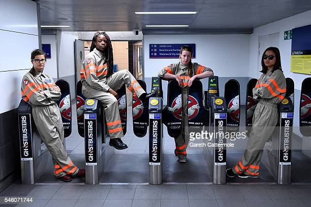 Fans pose in a commuter tunnel at Waterloo Station on July 11 2016 in London England Ghostbusters take over Waterloo Station as Stay Puft Marshmallow...