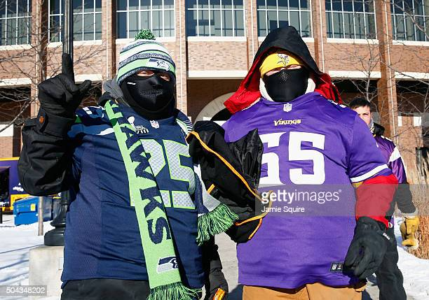 Fans pose prior to the NFC Wild Card Playoff game between the Minnesota Vikings and the Seattle Seahawks at TCFBank Stadium on January 10 2016 in...