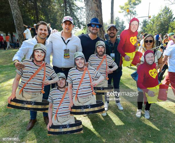 Fans pose with Fatheads during the final round of the World Golf Championships-Mexico Championship at Club de Golf Chapultepec on March 4, 2018 in...