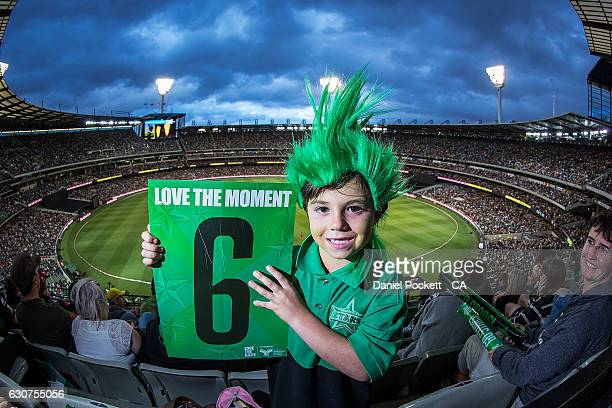 Fans posing for a photo during the Big Bash League match between the Melbourne Stars and Melbourne Renegades at Melbourne Cricket Ground on January 1...