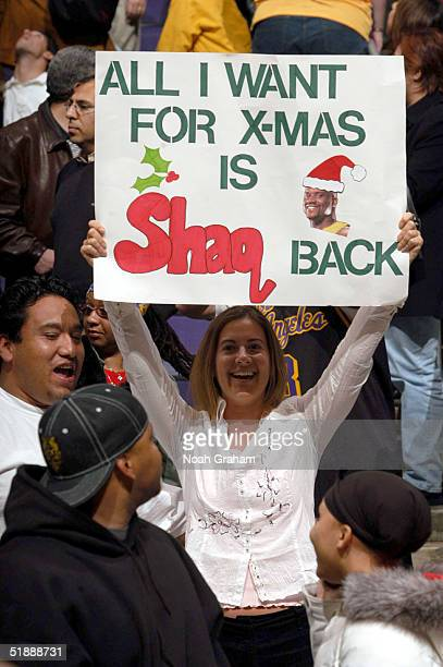 Fans prepare for the Christmas Day game coming up at the Los Angeles Lakers against the New Orleans Hornets on December 22, 2004 at the Staples...