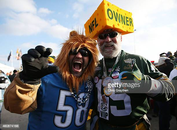 Fans prepare for the game between the Green Bay Packers and the Detroit Lions at Lambeau Field on December 28 2014 in Green Bay Wisconsin