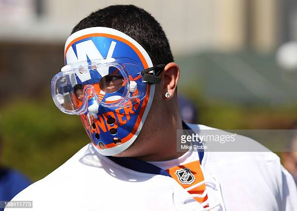 Fans prepare for the game between the New York Islanders and the Pittsburgh Penguins in Game Three of the Eastern Conference Quarterfinals during the...