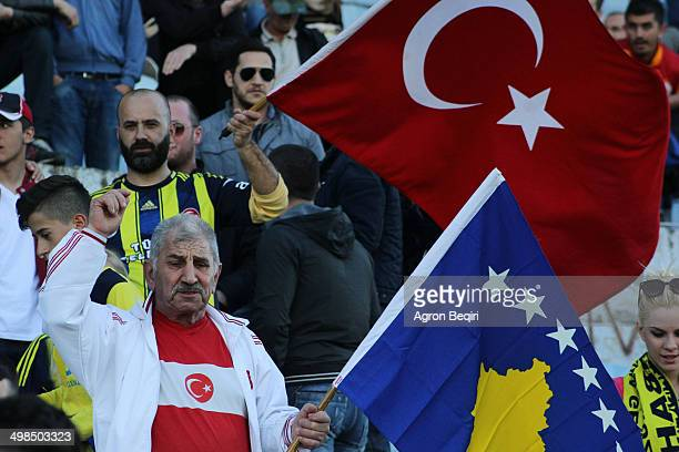 Fans present during Turkey training today in Prishtina's stadium showing their support for Turkey and Kosovo International teams ahead tomorrow's...