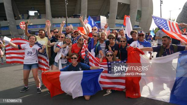 Fans prior to the 2019 FIFA Women's World Cup France quarterfinal match between France and the United States at Parc des Princes on June 28 2019 in...