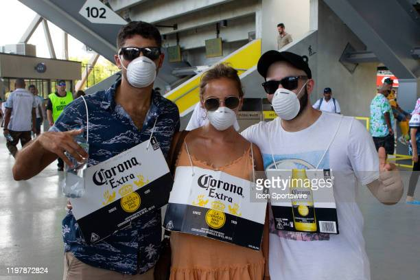 Fans protect themselves from the Corona virus at the HSBC Sydney Sevens Rugby on February 01 2020 at Bankwest Stadium in Sydney Australia