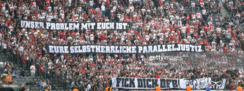 Fans protest against the DFB with banners during the Bundesliga match between Hertha BSC and VfB Stuttgart at Olympiastadion on August 19, 2017 in Berlin, Germany.