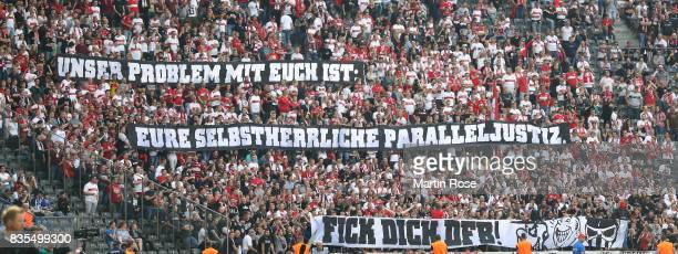 Fans protest against the DFB with banners during the Bundesliga match between Hertha BSC and VfB Stuttgart at Olympiastadion on August 19 2017 in...