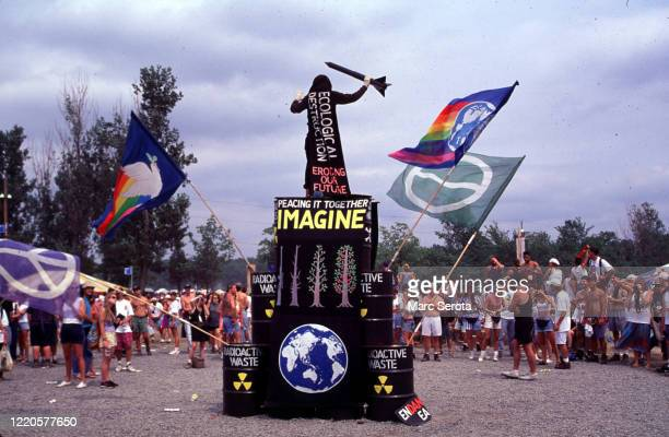 Fans protest at the Woodstock Music Festival on August 12, 1994 in Saugerties, New York.