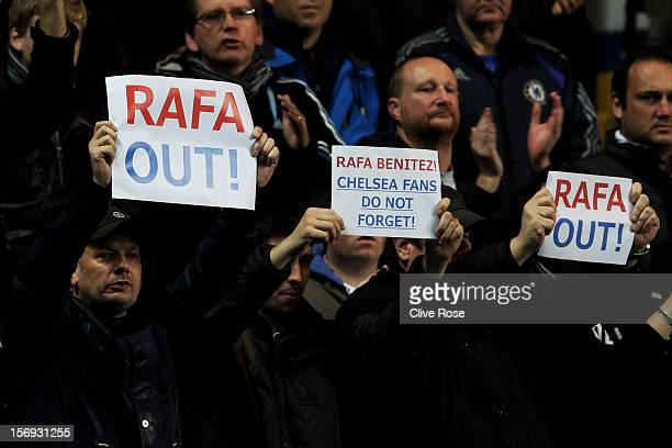 Fans protest over the signing of new manager Rafael Benitez during the Barclays Premier League match between Chelsea and Manchester City at Stamford...
