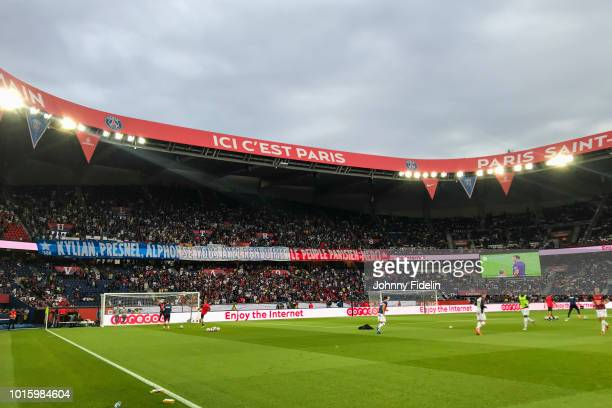 Fans PSG during the French Ligue 1 match between Paris Saint Germain and Caen at Parc des Princes on August 12 2018 in Paris France