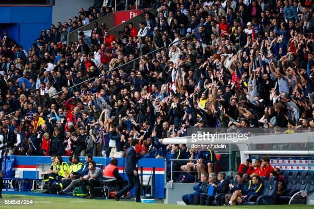 Fans PSG make a waves during the Ligue 1 match between Paris Saint Germain and FC Girondins de Bordeaux at Parc des Princes on September 30 2017 in...