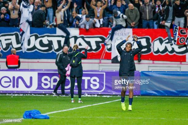 Fans PSG salute Marie Antoinette Katoto of PSG during the UEFA Women's Champions League match between Paris Saint Germain and Linkopings FC at Stade...