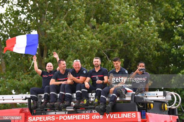 Fans / Public / French Firemen / during the 105th Tour de France 2018, Stage 21 a 116km stage from Houilles to Paris Champs-Elysees / TDF / on July...