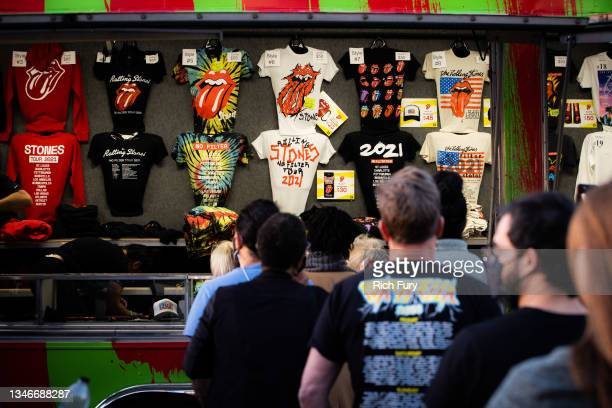 Fans purchase merchandise before The Rolling Stones performance at SoFi Stadium on October 14, 2021 in Inglewood, California.