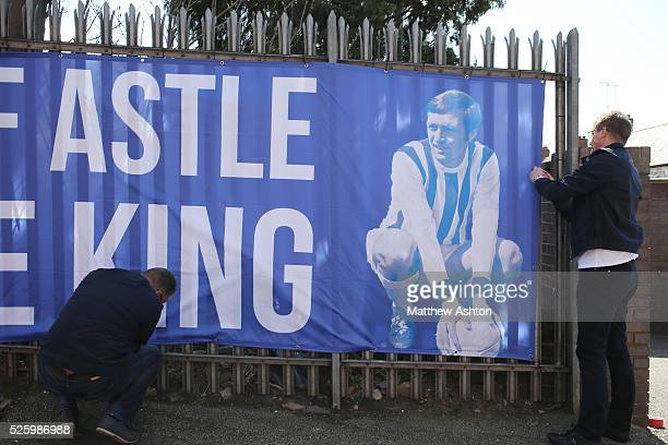 Fans put up a banner celebrating Jeff Astle on Jeff Astle Day celebrating the former WBA legend who made his debut against Leicester City